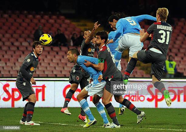 Edinson Cavani of SSC Napoli scores the opening goal during the TIM Cup SSC Napoli and Bologna FC at Stadio San Paolo on December 19 2012 in Naples...