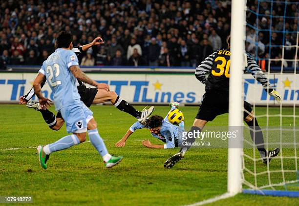 Edinson Cavani of SSC Napoli scores the third goal during the Serie A match between SSC Napoli and Juventus FC at Stadio San Paolo on January 9 2011...