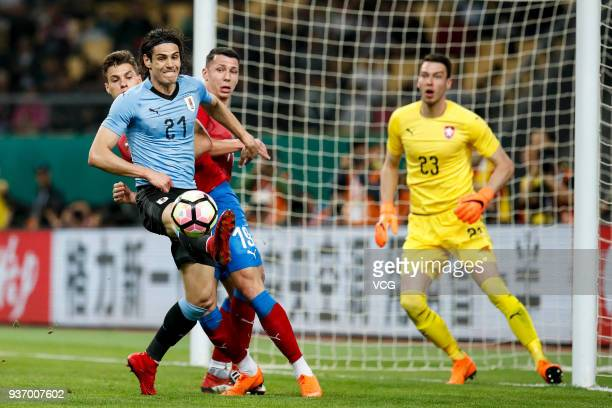 Edinson Cavani of Uruguay and Patrik Schick of Czech Republic compete for the ball during the 2018 China Cup International Football Championship...