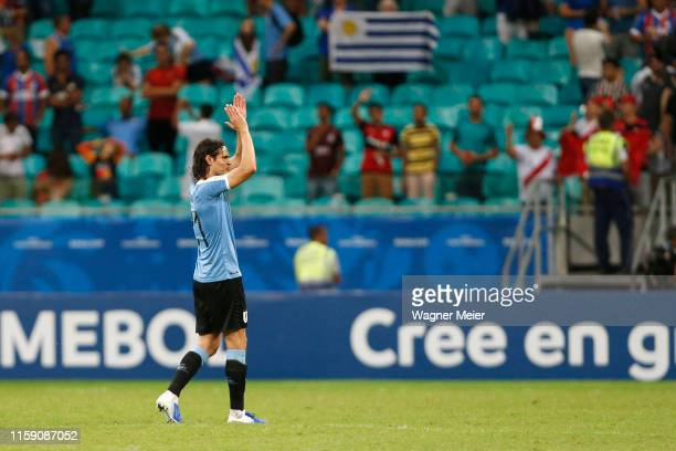 Edinson Cavani of Uruguay applauds the fans after losing during a penalty shootout after the Copa America Brazil 2019 quarterfinal match between...