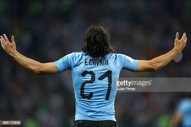 Edinson Cavani of Uruguay celebrates after scoring his team's first goal during the 2018 FIFA World Cup Russia Round of 16 match between Uruguay and...