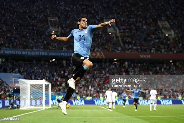 Edinson Cavani of Uruguay celebrates after scoring his team's second goal during the 2018 FIFA World Cup Russia Round of 16 match between Uruguay and...