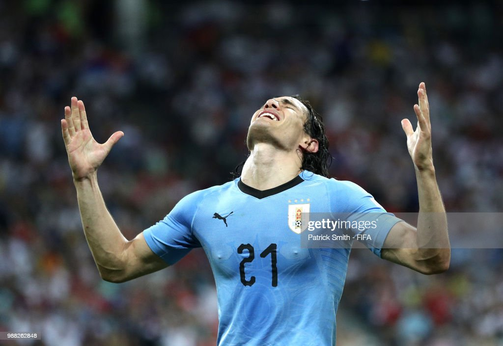 Edinson Cavani of Uruguay celebrates after scoring his team's second goal during the 2018 FIFA World Cup Russia Round of 16 match between Uruguay and Portugal at Fisht Stadium on June 30, 2018 in Sochi, Russia.