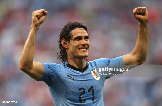 Edinson Cavani of Uruguay celebrates after scoring his team's third goal during the 2018 FIFA World Cup Russia group A match between Uruguay and...