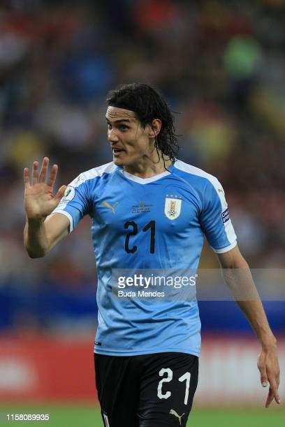 Edinson Cavani of Uruguay celebrates after scoring the first goal of his team during the Copa America Brazil 2019 group C match between Chile and...