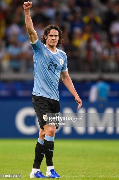 Edinson Cavani of Uruguay celebrates after scoring the second goal of his team during a match between Uruguay and Ecuador at Mineirao Stadium on June...