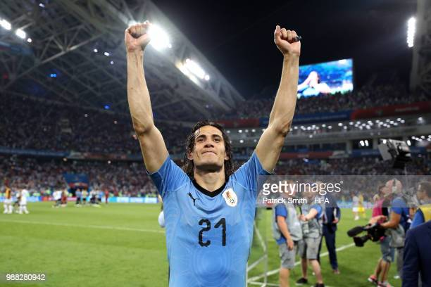 Edinson Cavani of Uruguay celebrates his side's victory following the 2018 FIFA World Cup Russia Round of 16 match between Uruguay and Portugal at...
