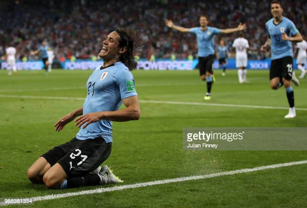Edinson Cavani of Uruguay celebrates scoring his first goal during the 2018 FIFA World Cup Russia Round of 16 match between Uruguay and Portugal at...