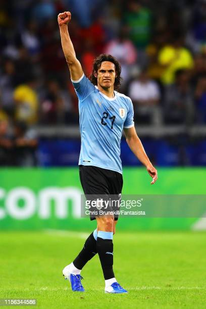 Edinson Cavani of Uruguay celebrates scoring his side's second goal during the Copa America Brazil 2019 group C match between Uruguay and Ecuador at...