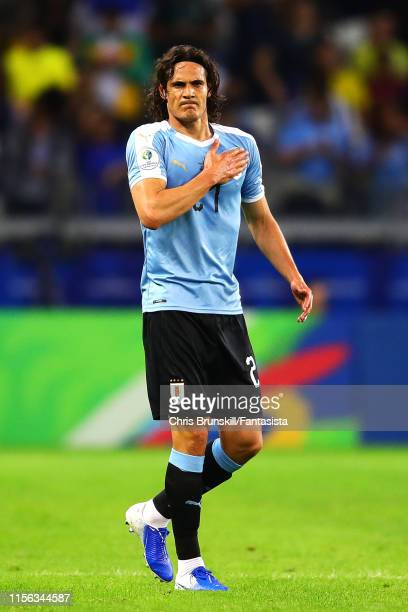 Edinson Cavani of Uruguay celebrates scoring his side's second goal during the Copa America Brazil 2019 group C match between Uruguay and Ecuador at...