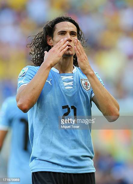 Edinson Cavani of Uruguay celebrates scoring his team's first goal to make the score 11 during the FIFA Confederations Cup Brazil 2013 3rd Place...
