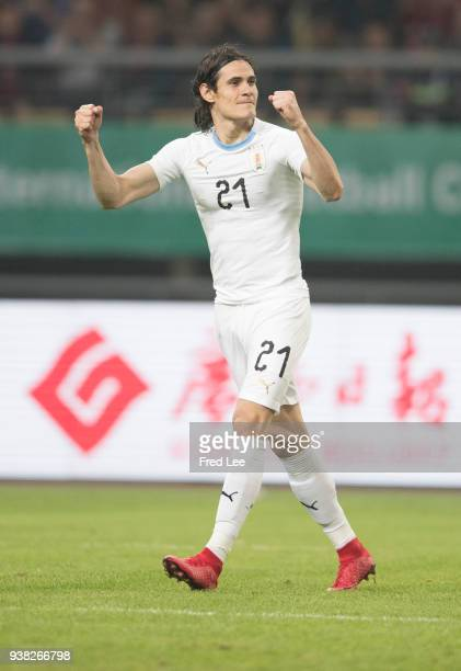 Edinson Cavani of Uruguay celebrates scoring his team's goal during 2018 China Cup International Football Championship between Wales and Uruguay at...