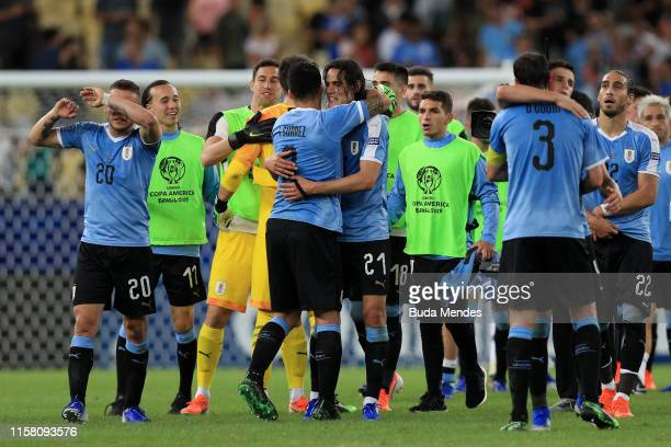Edinson Cavani of Uruguay celebrates with teammate Luis Suarez after winning the Copa America Brazil 2019 group C match between Chile and Uruguay at...