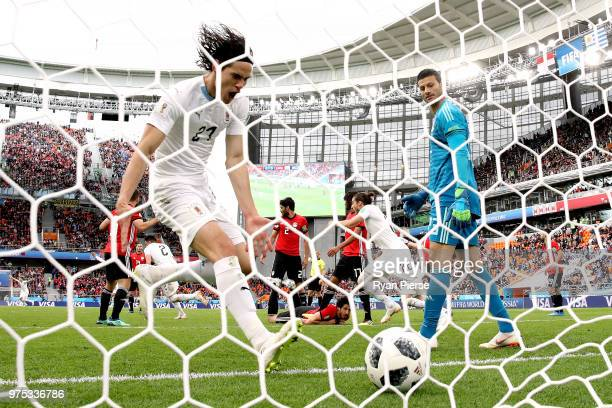 Edinson Cavani of Uruguay celebrtae Jose Gimenez's goal during the 2018 FIFA World Cup Russia group A match between Egypt and Uruguay at Ekaterinburg...