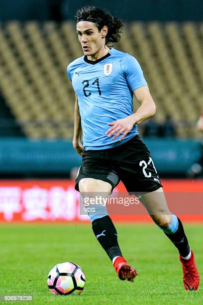 Edinson Cavani of Uruguay drives the ball during the 2018 China Cup International Football Championship match between Uruguay and Czech Republic at...