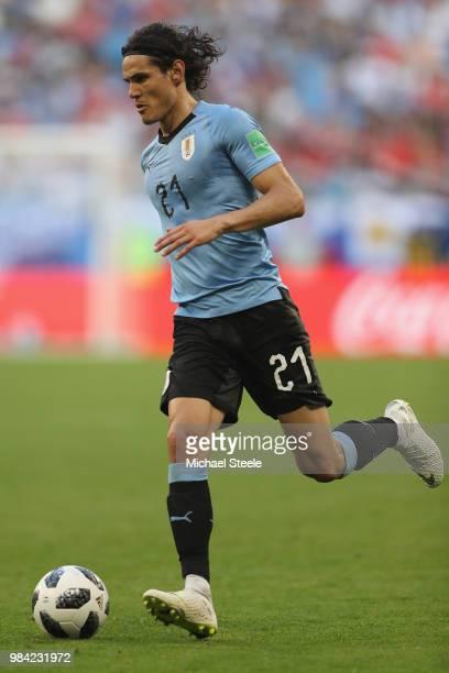 Edinson Cavani of Uruguay during the 2018 FIFA World Cup Russia group A match between Uruguay and Russia at Samara Arena on June 25 2018 in Samara...