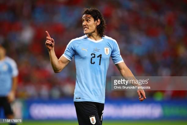 Edinson Cavani of Uruguay gesture during the Copa America Brazil 2019 group C match between Chile and Uruguay at Maracana Stadium on June 24 2019 in...