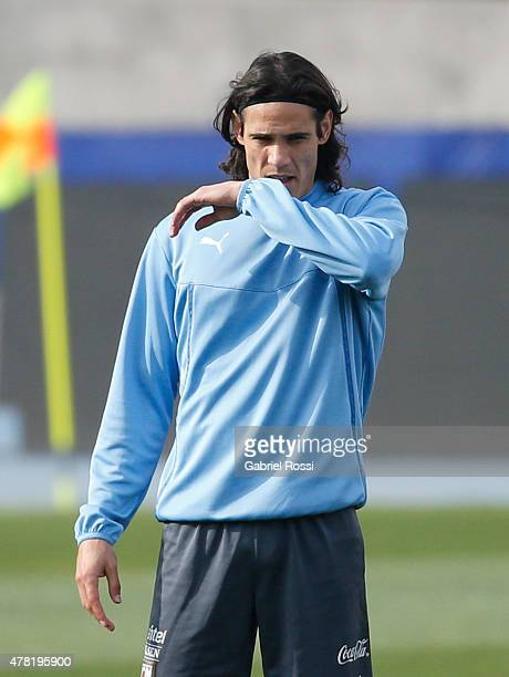 Edinson Cavani of Uruguay gestures during a training session at Nacional Stadium on June 23 2015 in Santiago Chile Uruguay will face Chile as part of...
