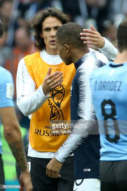 Edinson Cavani of Uruguay greets Kylian Mbappe of France following the 2018 FIFA World Cup Russia Quarter Final match between Uruguay and France at...