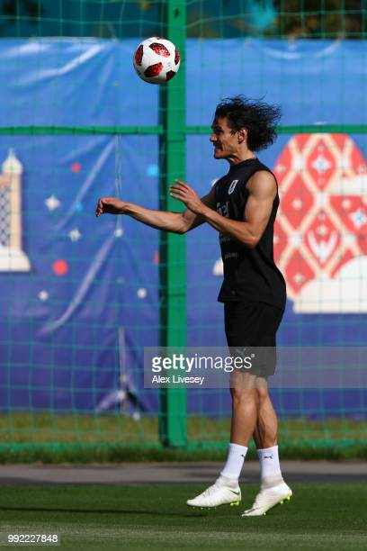 Edinson Cavani of Uruguay in action during a training session at Sports Centre Borsky on July 5 2018 in Nizhny Novgorod Russia