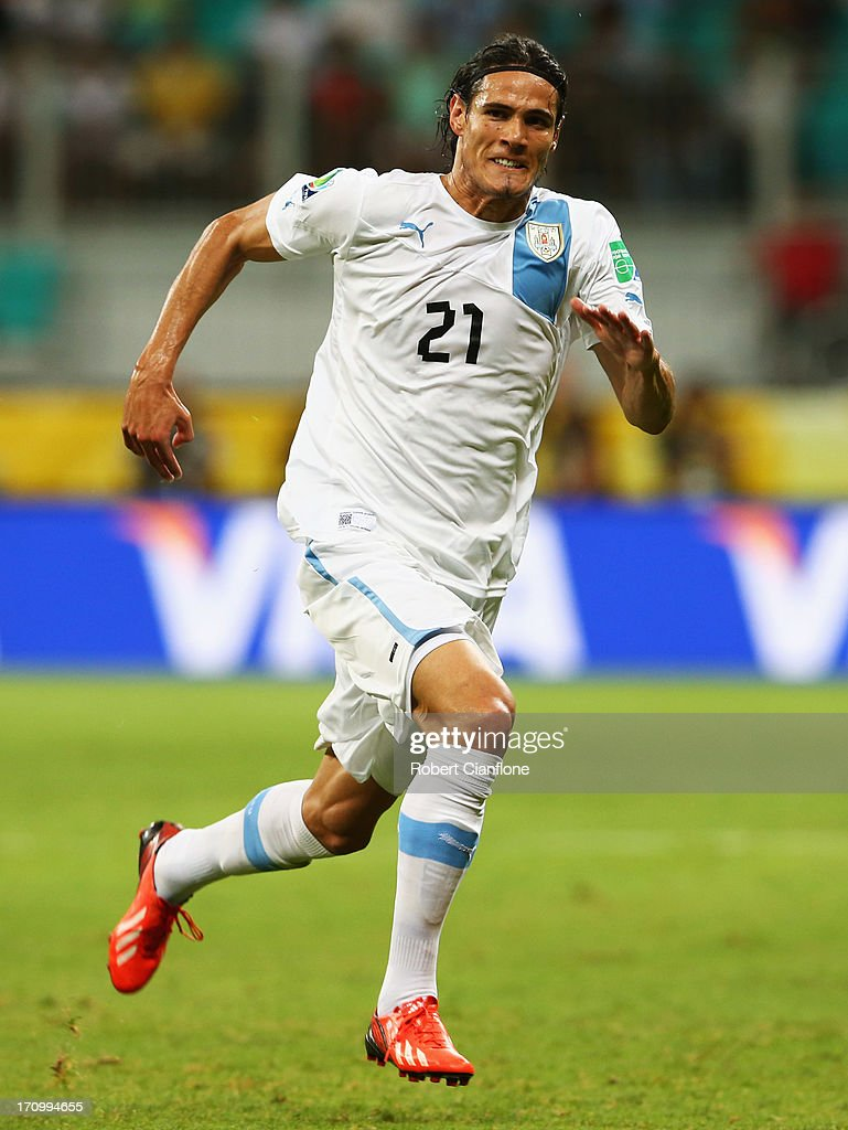 Edinson Cavani of Uruguay in action during the FIFA Confederations Cup Brazil 2013 Group B match between Nigeria and Uruguay at Estadio Octavio Mangabeira (Arena Fonte Nova Salvador) on June 20, 2013 in Salvador, Brazil.