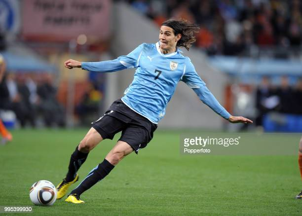 Edinson Cavani of Uruguay in action during the FIFA World Cup Semi Final between Uruguay and the Netherlands at the Cape Town Stadium on July 6 2010...