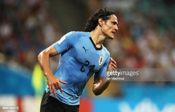 Edinson Cavani of Uruguay is seen during the 2018 FIFA World Cup Russia Round of 16 match between Uruguay and Portugal at Fisht Stadium on June 30...