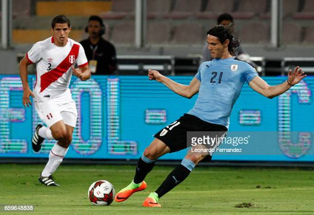 Edinson Cavani of Uruguay kicks the ball during a match between Peru and Uruguay as part of FIFA 2018 World Cup at Nacional Stadium on March 28 2017...
