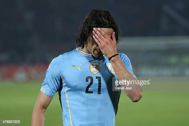 Edinson Cavani of Uruguay looks dejected after being sent off during the 2015 Copa America Chile quarter final match between Chile and Uruguay at...