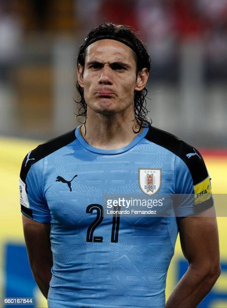 Edinson Cavani of Uruguay looks on during a match between Peru and Uruguay as part of FIFA 2018 World Cup at Nacional Stadium on March 28 2017 in...