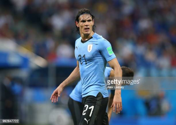 Edinson Cavani of Uruguay looks on during the 2018 FIFA World Cup Russia Round of 16 match between 1st Group A and 2nd Group B at Fisht Stadium on...