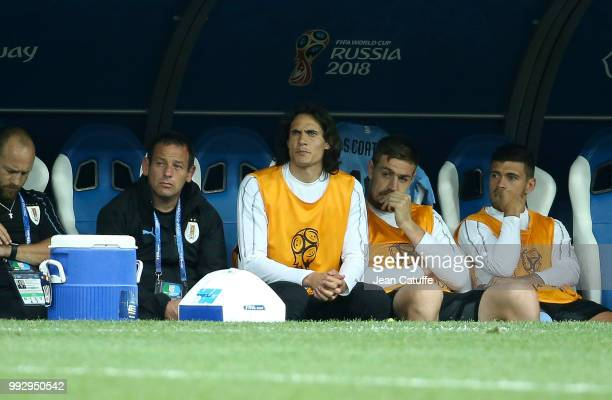 Edinson Cavani of Uruguay looks on from the bench during the 2018 FIFA World Cup Russia Quarter Final match between Uruguay and France at Nizhny...