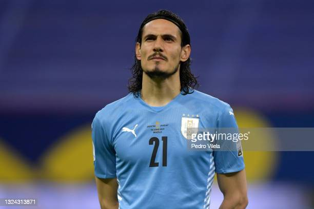 Edinson Cavani of Uruguay looks on prior to a group A match between Argentina and Chile as part of Conmebol Copa America Brazil 2021 at Mane...
