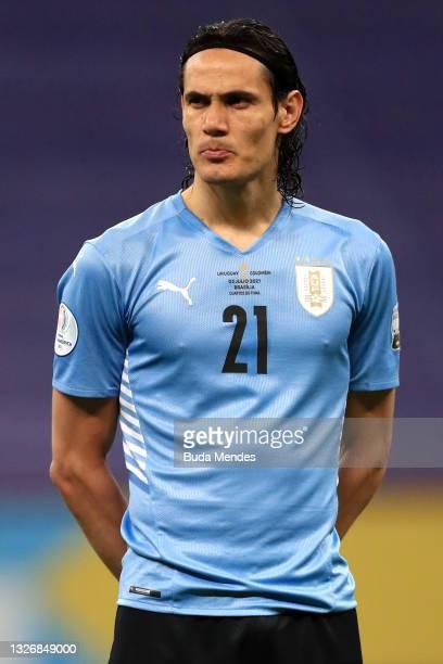 Edinson Cavani of Uruguay looks on prior to a quarter-final match of Copa America Brazil 2021 between Colombia and Uruguay at Mane Garrincha Stadium...