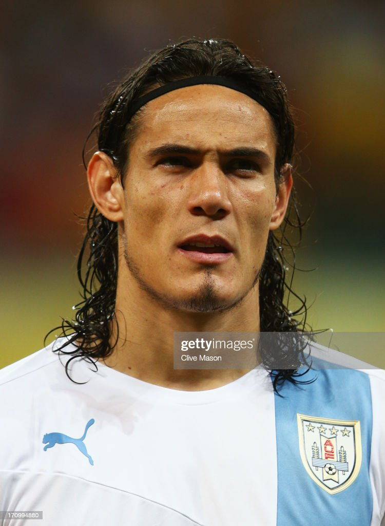 Edinson Cavani of Uruguay looks on prior to the FIFA Confederations Cup Brazil 2013 Group B match between Nigeria and Uruguay at Estadio Octavio Mangabeira (Arena Fonte Nova Salvador) on June 20, 2013 in Salvador, Brazil.