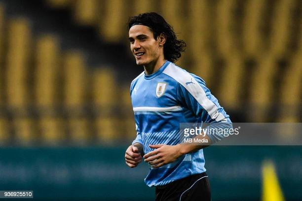 Edinson Cavani of Uruguay national football team takes part in a training session before the semifinal match against Czech Republic during the 2018...