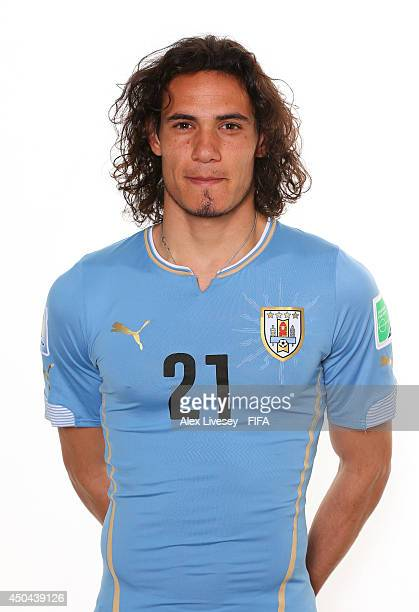Edinson Cavani of Uruguay poses during the official FIFA World Cup 2014 portrait session on June 10 2014 in Belo Horizonte Brazil