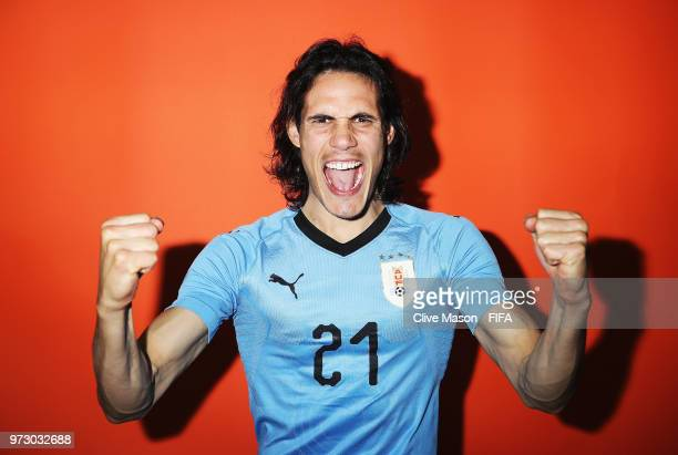 Edinson Cavani of Uruguay poses during the official FIFA World Cup 2018 portrait session at the Borsky Sports Centre on June 12 2018 in Nizhny...