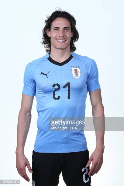 Edinson Cavani of Uruguay poses for a portrait during the official FIFA World Cup 2018 portrait session at Borsky Sport Centre on June 12 2018 in...