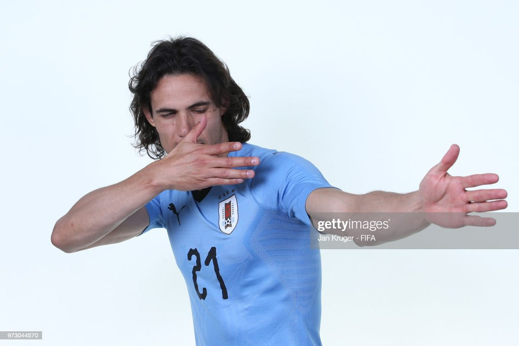 Edinson Cavani of Uruguay poses for a portrait during the official FIFA World Cup 2018 portrait session at Borsky Sport Centre on June 12, 2018 in Nizhniy Novgorod, Russia.