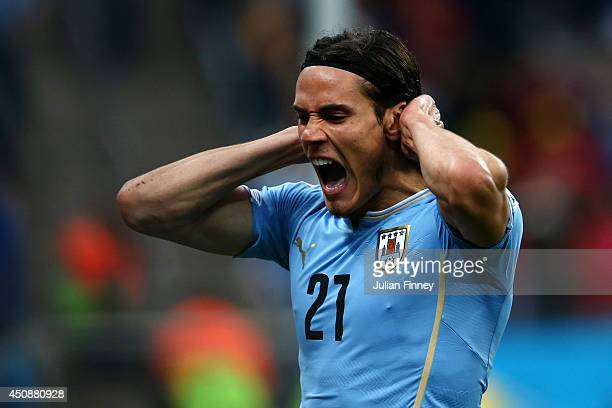 Edinson Cavani of Uruguay reacts after a missed chance during the 2014 FIFA World Cup Brazil Group D match between Uruguay and England at Arena de...