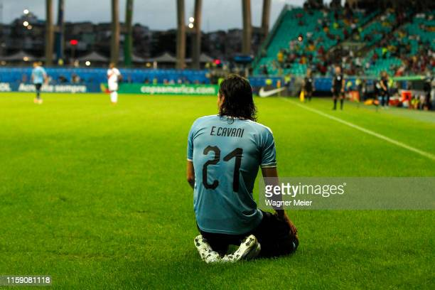 Edinson Cavani of Uruguay reacts after his goal is disallowed during the Copa America Brazil 2019 quarterfinal match between Uruguay and Peru at...
