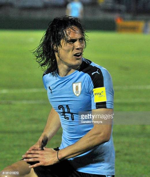 Edinson Cavani of Uruguay reacts during a match between Uruguay and Peru as part of FIFA 2018 World Cup Qualifiers at Centenario Stadium on March 29...