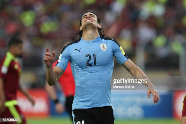 Edinson Cavani of Uruguay reacts during a match between Venezuela and Uruguay as part of FIFA 2018 World Cup Qualifiers at Pueblo Nuevo Stadium on...