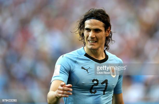 Edinson Cavani of Uruguay reacts during the 2018 FIFA World Cup Russia group A match between Uruguay and Saudi Arabia at Rostov Arena on June 20 2018...