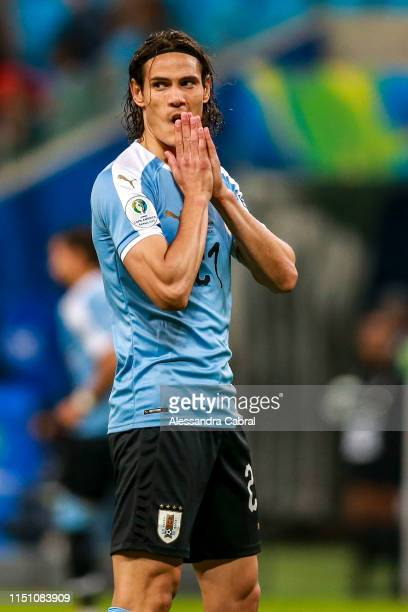 Edinson Cavani of Uruguay reacts during the Copa America Brazil 2019 group C match between Uruguay and Japan at Arena do Gremio on June 20, 2019 in...