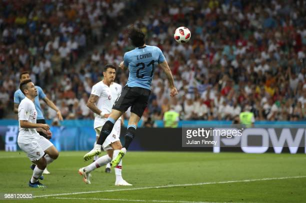Edinson Cavani of Uruguay scores his team's first goal during the 2018 FIFA World Cup Russia Round of 16 match between Uruguay and Portugal at Fisht...
