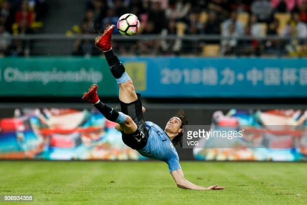 Edinson Cavani of Uruguay scores his team's second goal during the 2018 China Cup International Football Championship match between Uruguay and Czech...