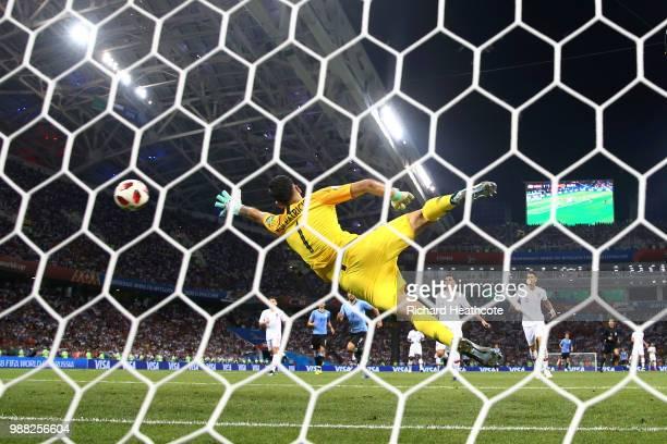 Edinson Cavani of Uruguay scores his team's second goal past Rui Patricio of Portugal during the 2018 FIFA World Cup Russia Round of 16 match between...