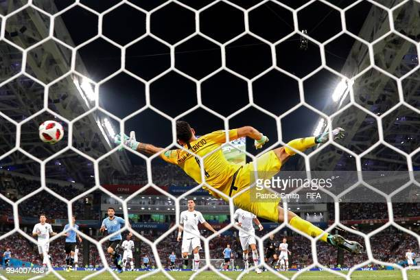 Edinson Cavani of Uruguay scores his team's second goal past Rui Patricio of Portugal during the 2018 FIFA World Cup Russia Round of 16 match between...